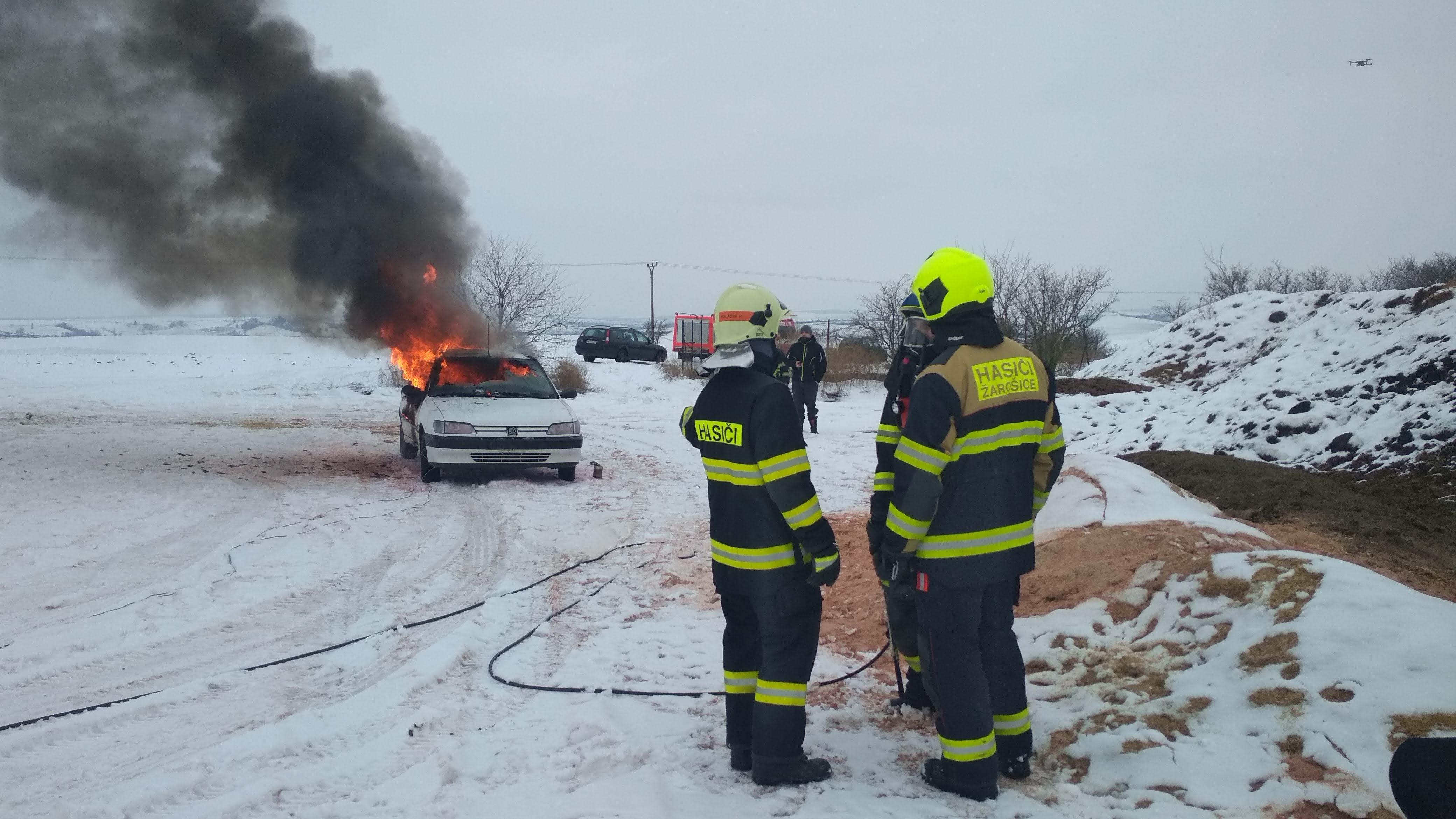 Výcvik – požár automobilu – Zima 2019